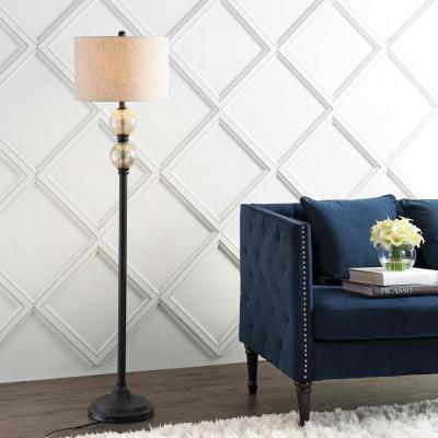 January 60 in. Glass/Metal LED Floor Lamp, Mercury Glass/Oil Rubbed Bronze