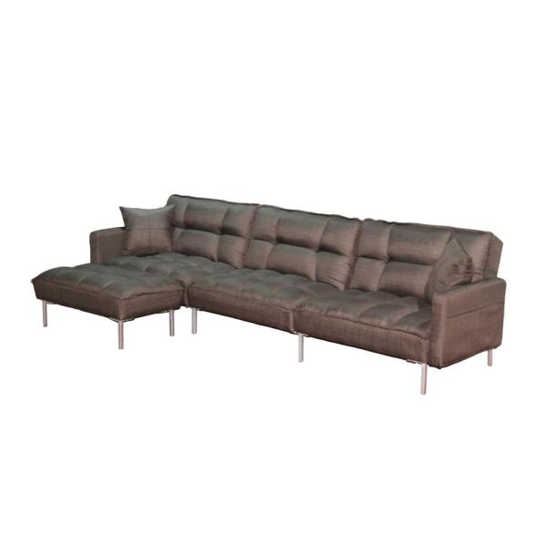 109 In Brown Sectional 4-Seat Sofa Bed L Shaped Couch Sleeper with 2 Pillows and Reversible Ottoman