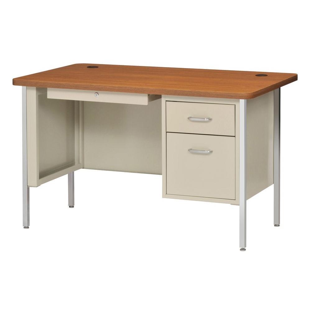 600 Series 29.5 in. H x 48 in. W x 30 in. D Single Pedestal Steel Desk in Putty/ Medium Oak