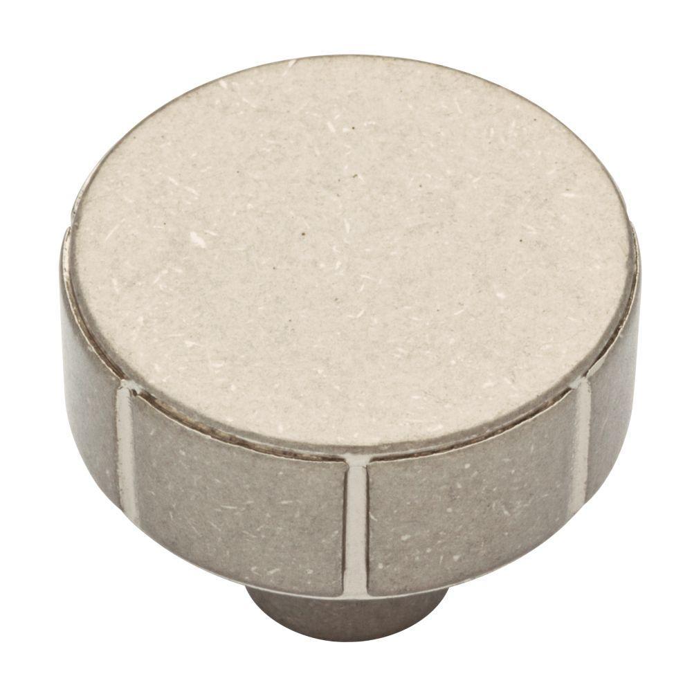 Rustic Industrial 1-1/4 in. (32mm) Bedford Nickel Round Cabinet Knob