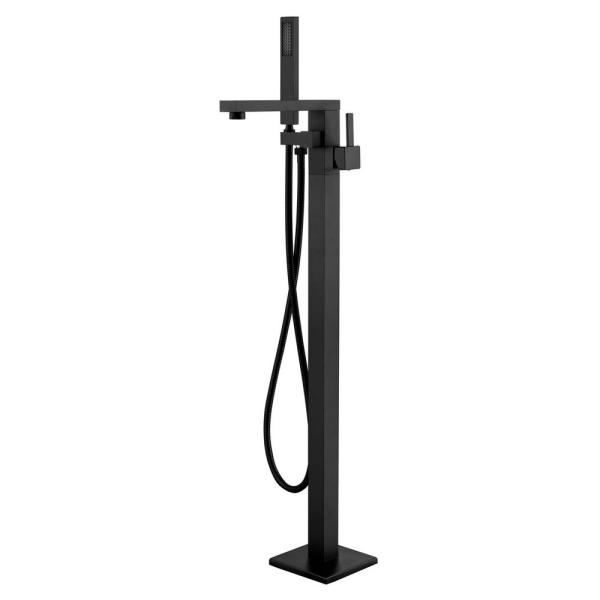 Seven Falls 8011 Single-Handle Floor-Mount Roman Tub Faucet with Hand Shower in Matte Black