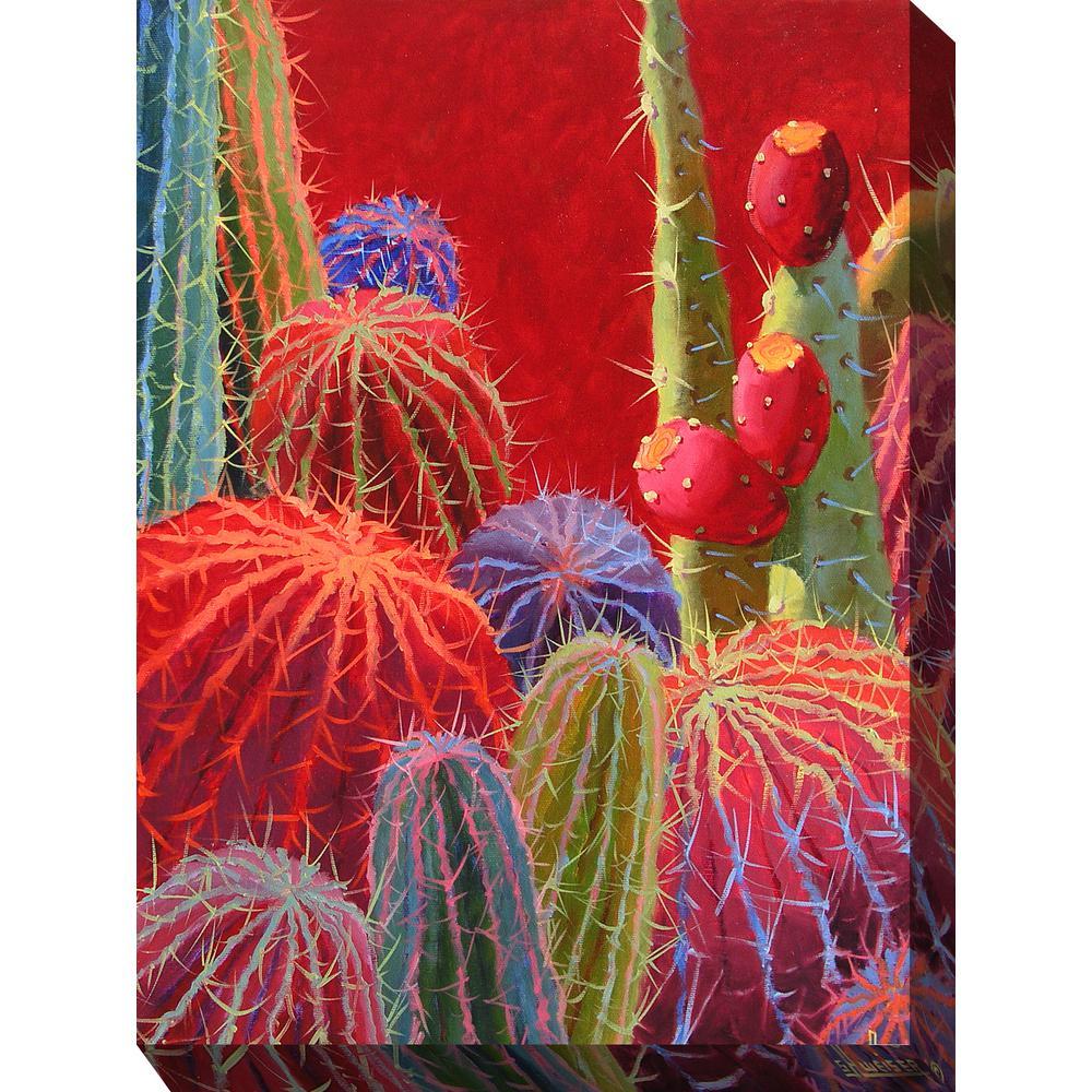 """40 in. x 30 in. """"Barrel Cactus #2"""" Outdoor Canvas Art"""