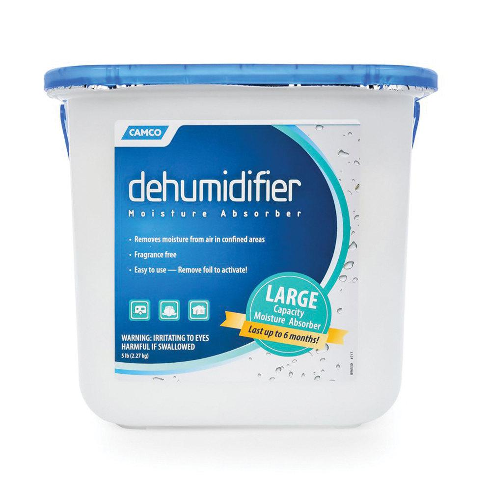 Dehumidifier Moisture Absorber - 5 Lbs. The Camco Dehumidifier Moisture Absorber removes moisture from the air in confined areas. It is fragrance-free and easy to use, lasts up to six months! Includes one 1 lbs. tub.