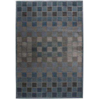 Bellevue Checkers Teal 3 ft. x 5 ft. Area Rug