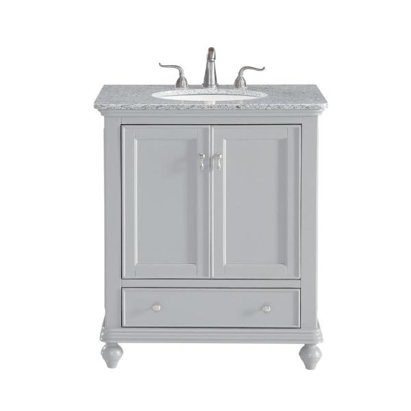 Timeless Home 30 in. W Single Bathroom Vanity in Light Grey with Vanity Top in White with White Basin