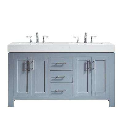 Essex 60 in. W x 22 in. D Bath Vanity in Grey with Quartz Vanity Top in White with White Basins