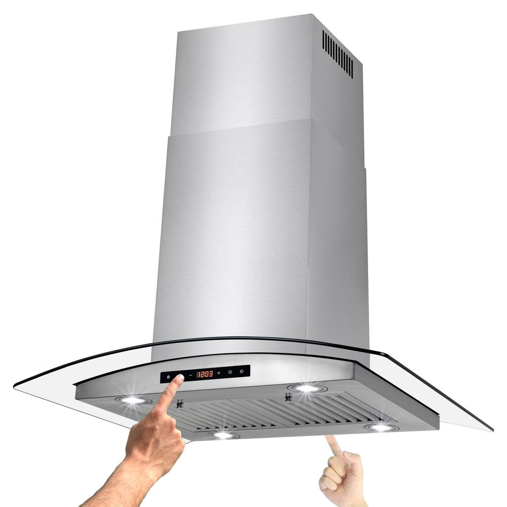 30 in. Convertible Kitchen Island Mount Range Hood in Stainless Steel