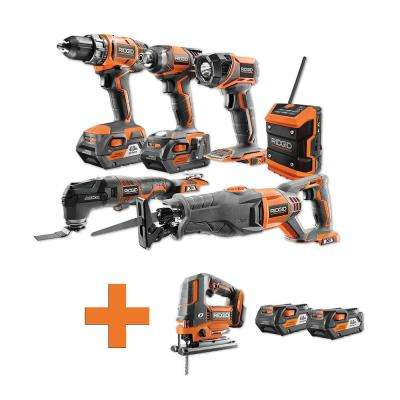 18-Volt Lithium-Ion Cordless Combo Kit (6-Tool) (2) 4Ah Batt and Charger w/Bonus Brushless Jig Saw and (2) 4Ah Batteries