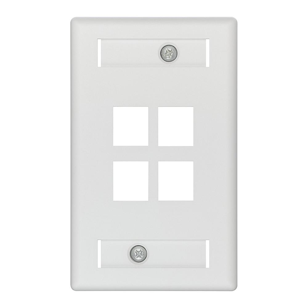 1-Gang QuickPlate Standard Size 4-Port Wallplate with ID Windows, White