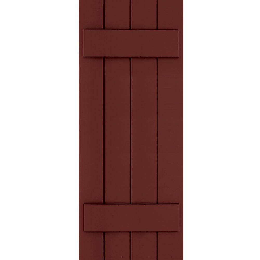 Winworks Wood Composite 15 in. x 40 in. Board & Batten Shutters Pair #650 Board & Batten Red