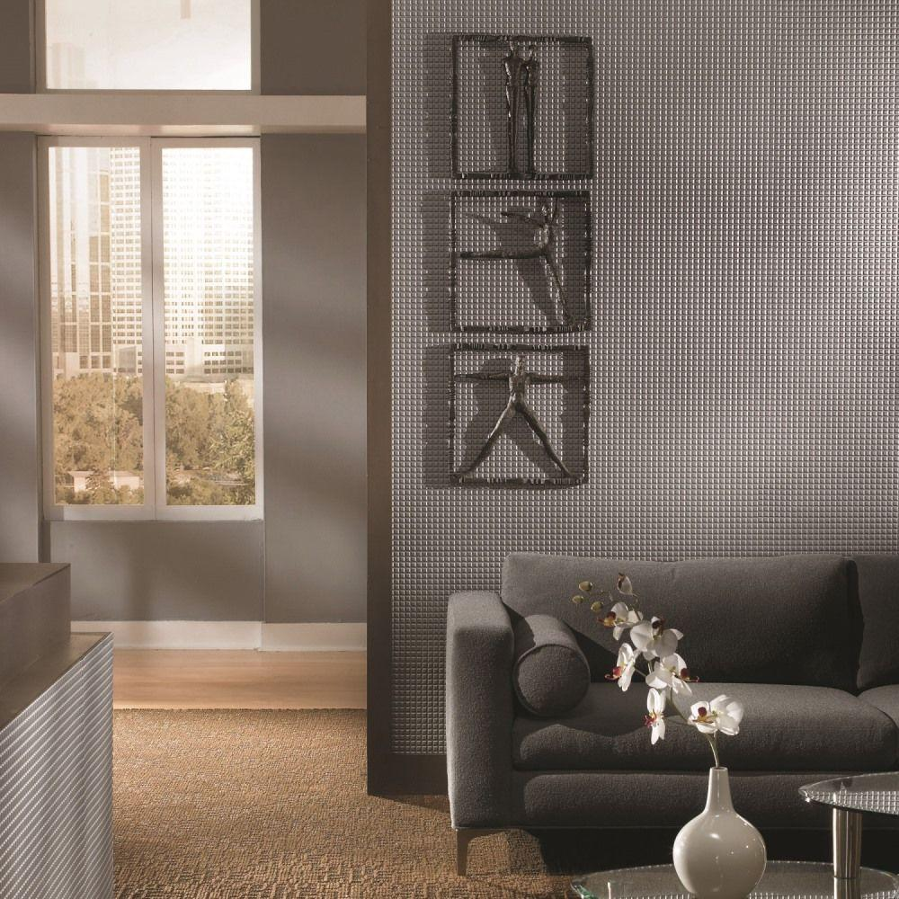 Fasade Square 96 in. x 48 in. Decorative Wall Panel in Smoked Pewter