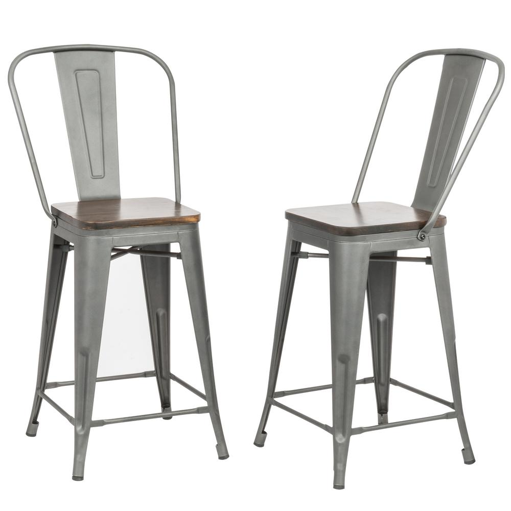 Rustic pewter wood seat counter stool set of 2