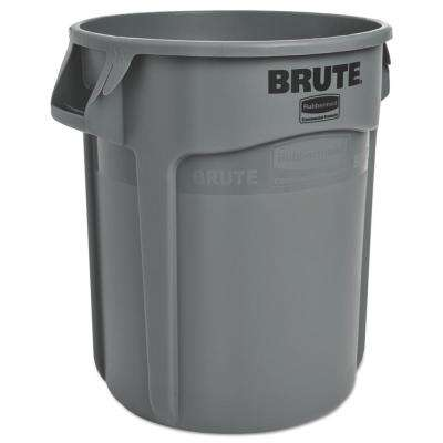 20 Gal. Gray Plastic Round Brute Trash Can Container