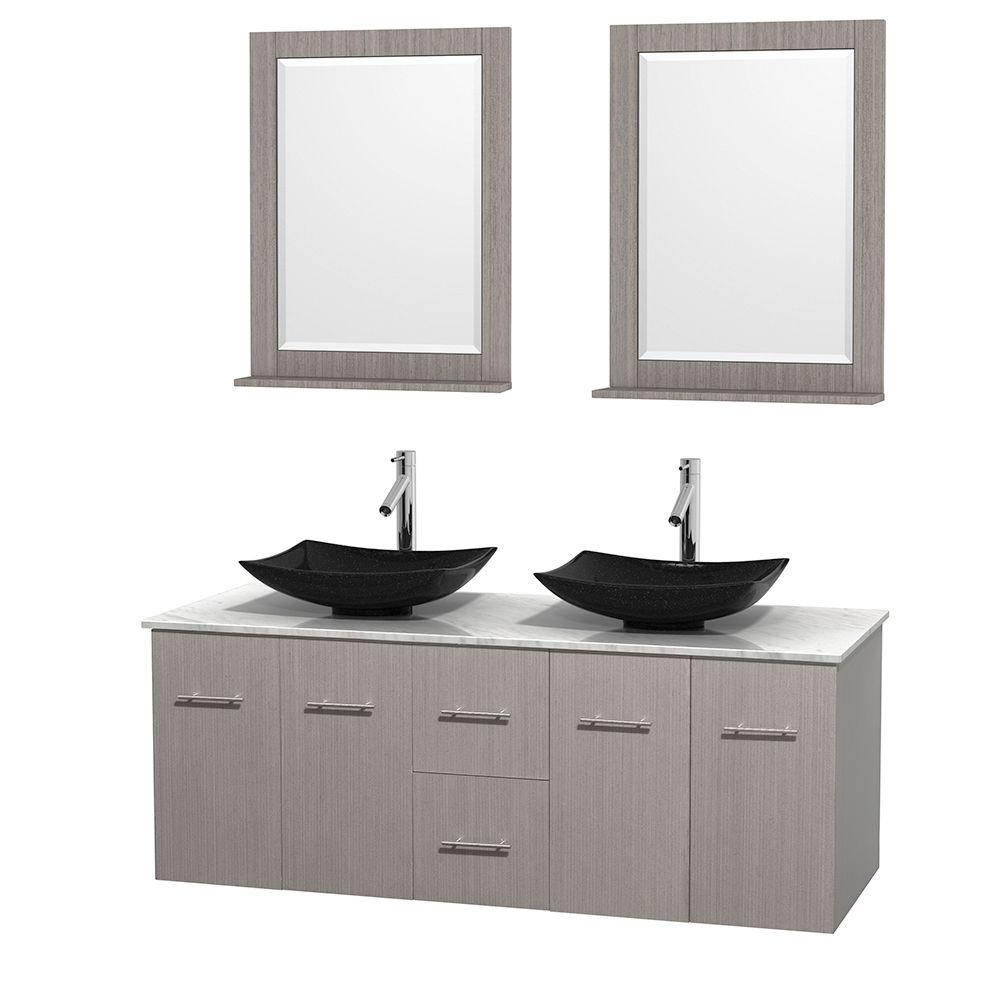 Good Double Vanity In Gray Oak With Marble Vanity