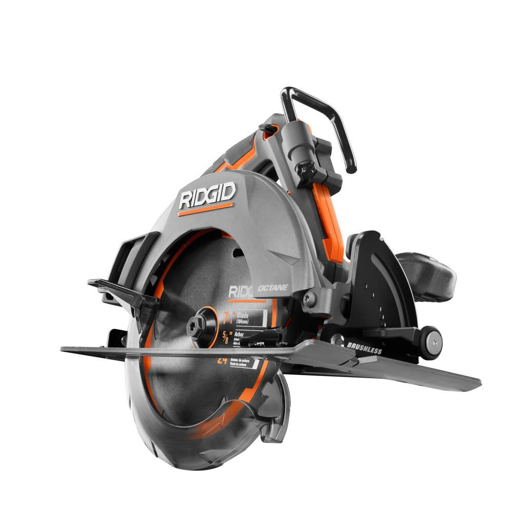 Ridgid 18 Volt Octane Cordless Brushless 7 1 4 In Circular Saw Tool Only R8654b The Home Depot