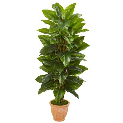 Indoor 5-Ft. Large Leaf Philodendron Artificial Plant in Terra Cotta Planter