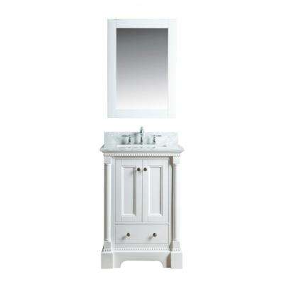 Olivia 24 in. W x 22 in. D Vanity in White with Marble Vanity Top in White with White Basin