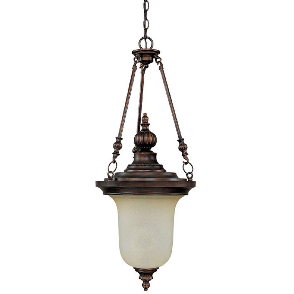 Filament Design 3-Light Burnished Bronze Chandelier with Mist Scavo Glass-DISCONTINUED