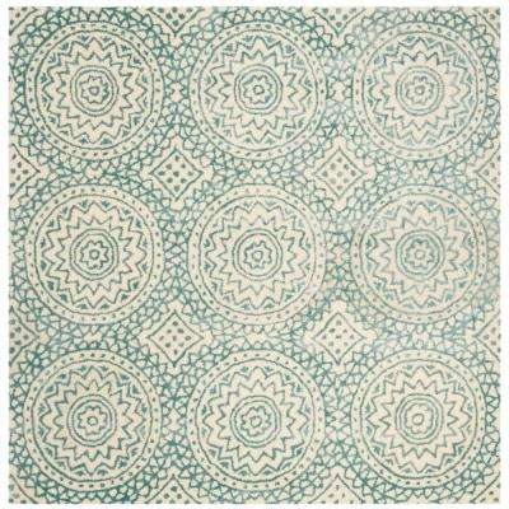 Bella Ivory/Blue 5 ft. x 5 ft. Square Area Rug