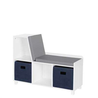 Kids White Storage Bench with Cubbies with Navy Bins (2-Piece)