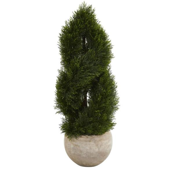 Indoor/Outdoor 3.5 ft. Double Pond Cypress Spiral Artificial Tree in Bowl Planter UV Resistant