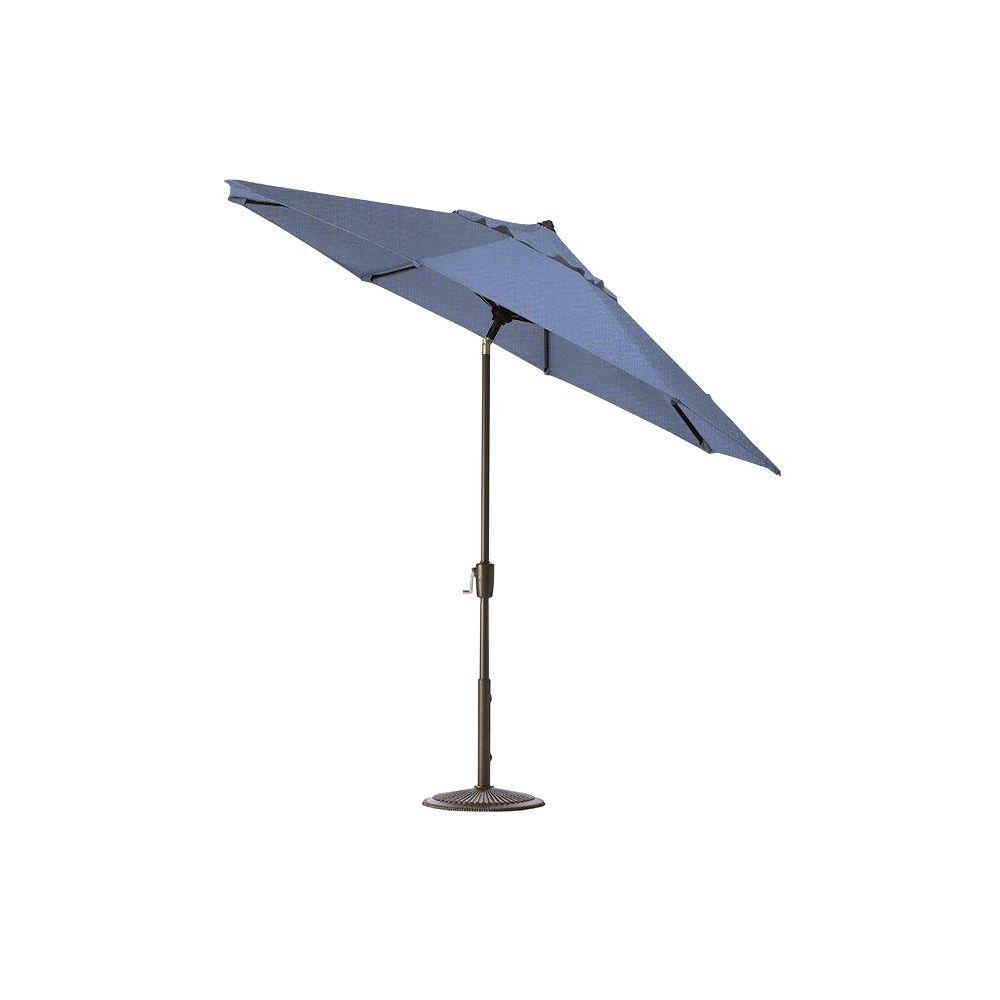 Home Decorators Collection 6.5 ft. x 10 ft. Auto-Tilt Patio Umbrella in Capri Sunbrella with Bronze Frame