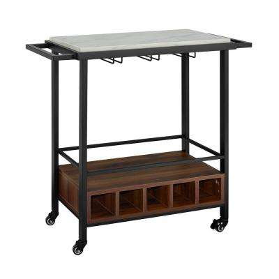 34 in. White Marble Serving Bar Cart with Dark Walnut Base