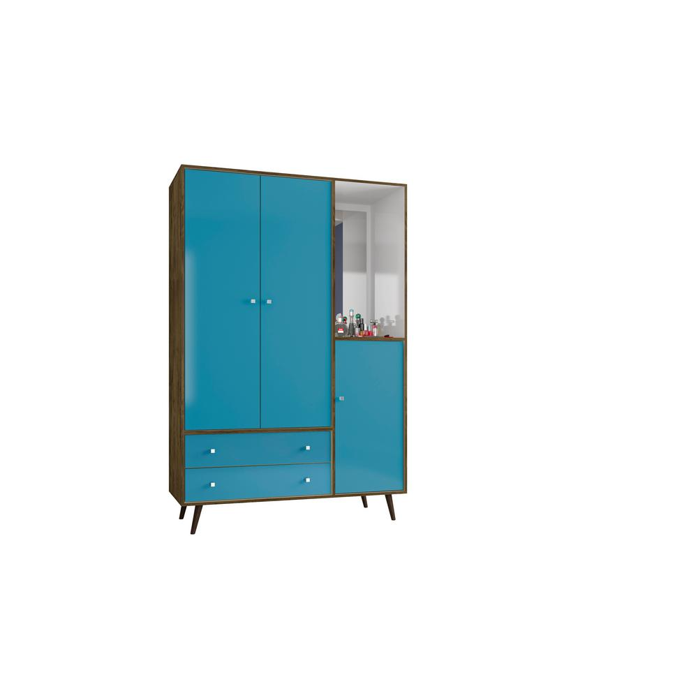 Liberty 47.83 in. Mid Century Rustic Brown and Aqua Modern Armoire