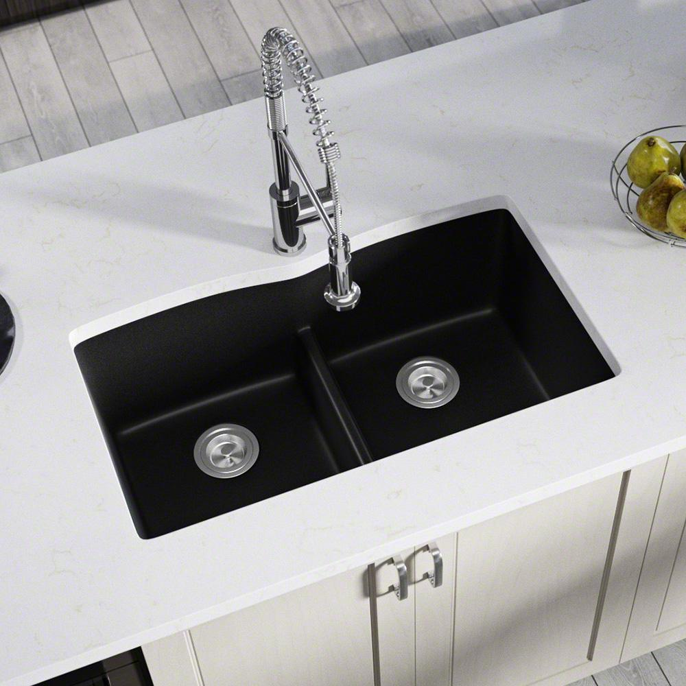 MR Direct Undermount Kitchen Sink Composite Granite 33 in. Low-Divide Equal  Double Basin in. Black
