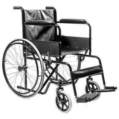 22 in. Lightweight Foldable Steel Transport Wheelchair in Black FDA Approved