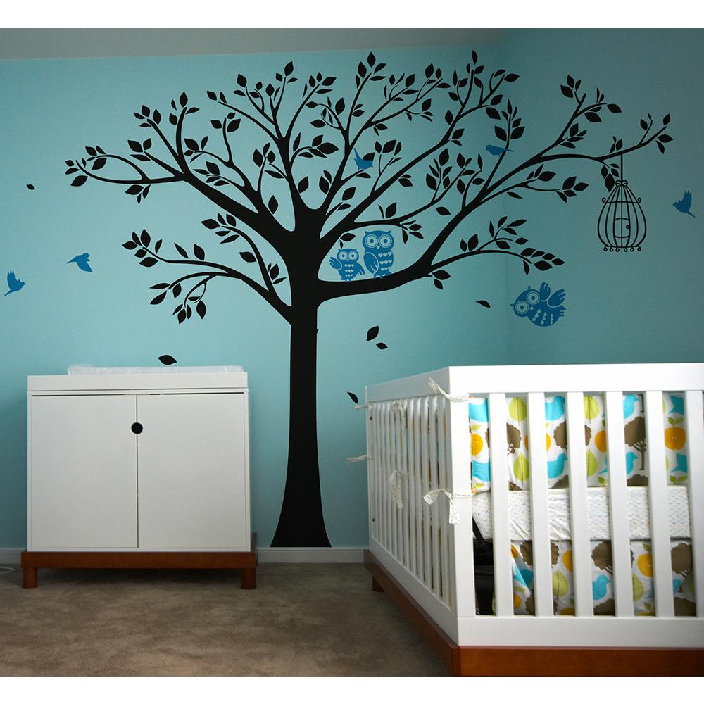 Nursery Tree With Cute Owls Removable Wall