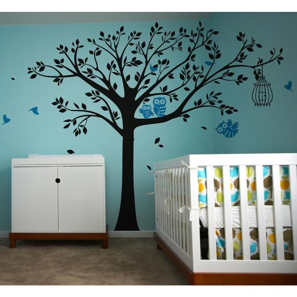 98 In X 80 In Nursery Tree With Cute Owls Removable Wall Decal