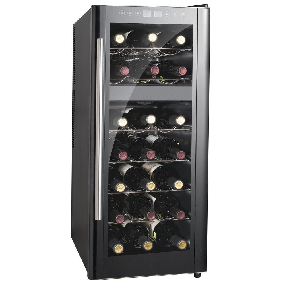 SPT 13-1/2 in. 21-Bottle Thermoelectric Wine Cooler with Dual Zone and Heating, Black/Grey