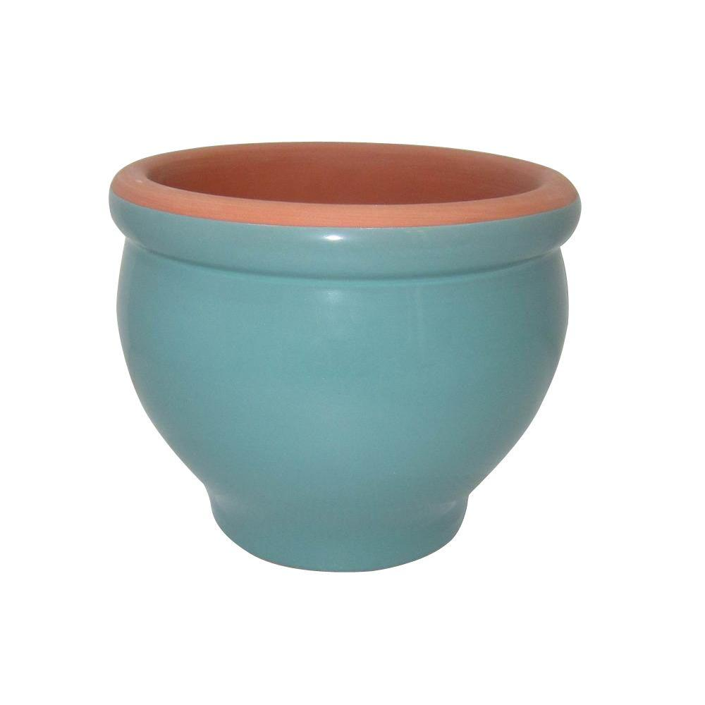null 5.5 in. Blue Glazed Assortment Terra Cotta Pedestal Bowl