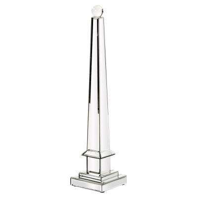 Large Mirrored Obelisk with Glass Ball Sculpture