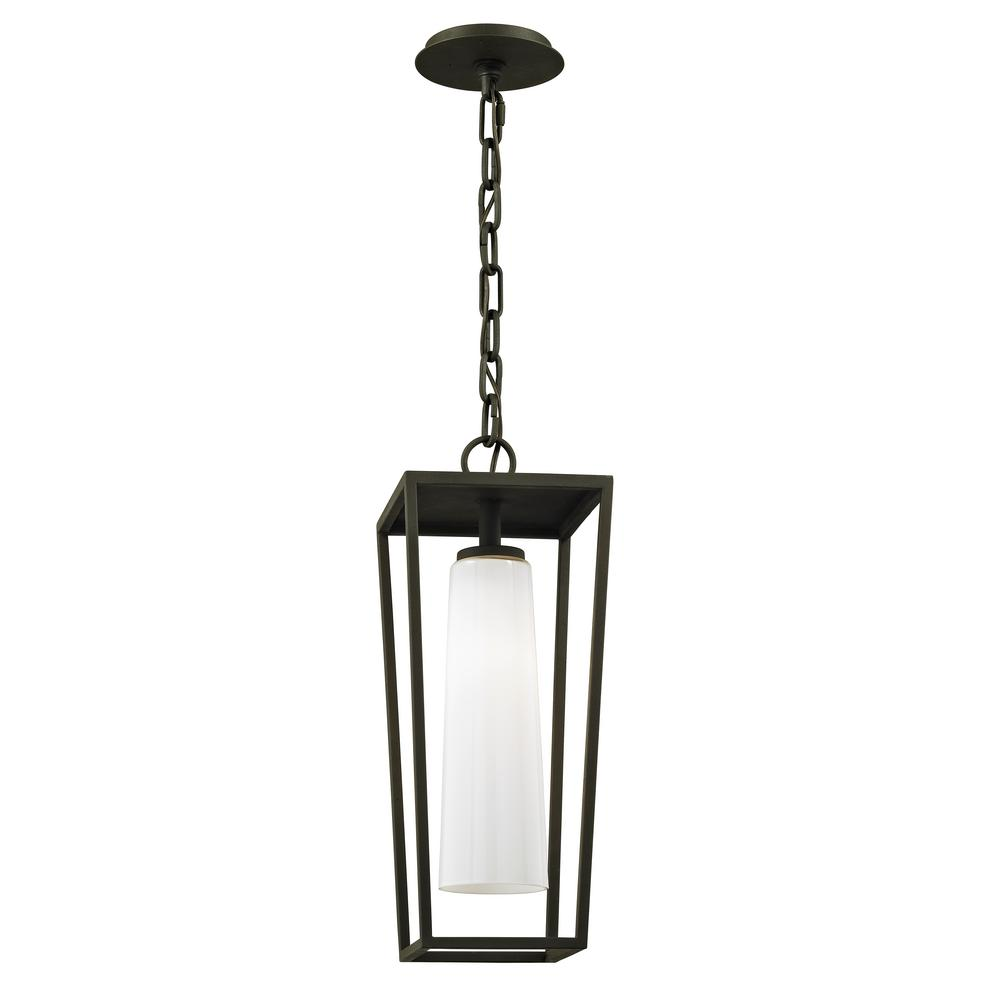 Mission Textured Black Beach 1-Light 7.75 in. W Outdoor Hanging Light