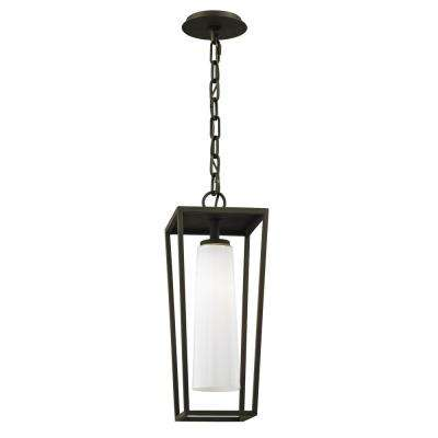 Mission Textured Black Beach 1-Light 7.75 in. W Outdoor Hanging Light with Opal White Glass