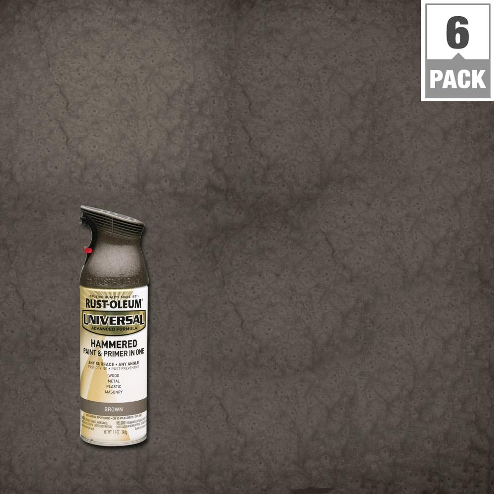 Rust Oleum Universal 12 Oz All Surface Hammered Brown Spray Paint And Primer In One 6 Pack