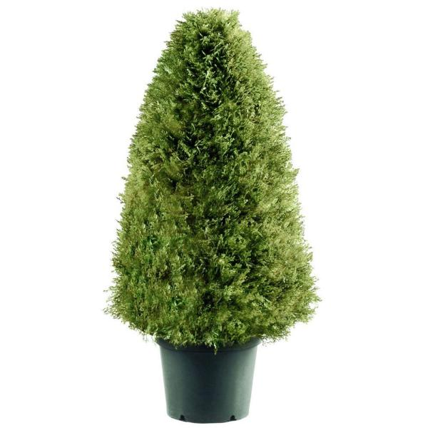 36 in. Upright Juniper Artificial Tree in Green Round Growers Pot
