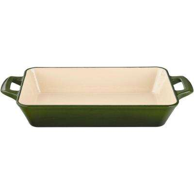 Large Deep Cast Iron Roasting Pan with Enamel Finish in Green