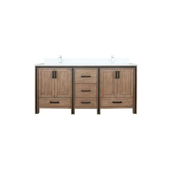Ziva 72 in. W Double Bath Vanity in Rustic Barnwood with Marble Vanity Top in White Cultured, White Basins