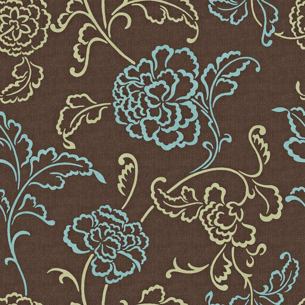 The Wallpaper Company 56 sq. ft. Brown, Blue and Sage Modern Linear Floral and Leaf on a Woven Background Wallpaper