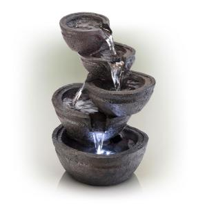 13 in. Tall Indoor/Outdoor Tabletop Tiering Bowls Fountain with LED Lights