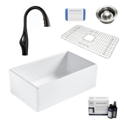 Bradstreet II All-in-One Farmhouse Fireclay 30 in. Single Bowl Kitchen Sink with Pfister Black Faucet and Disposal Drain