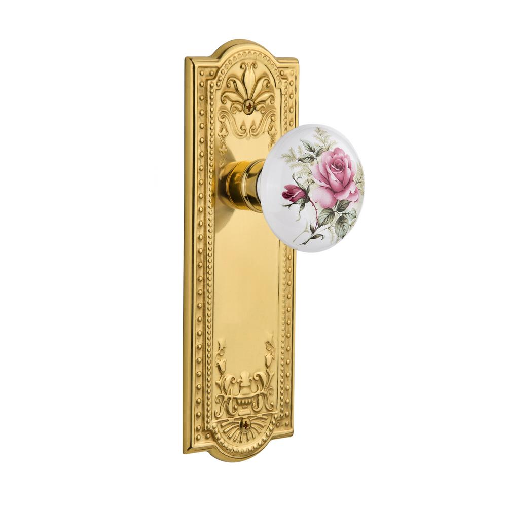 Meadows Plate 2-3/8 in. Backset Polished Brass Passage White Rose Porcelain Door Knob