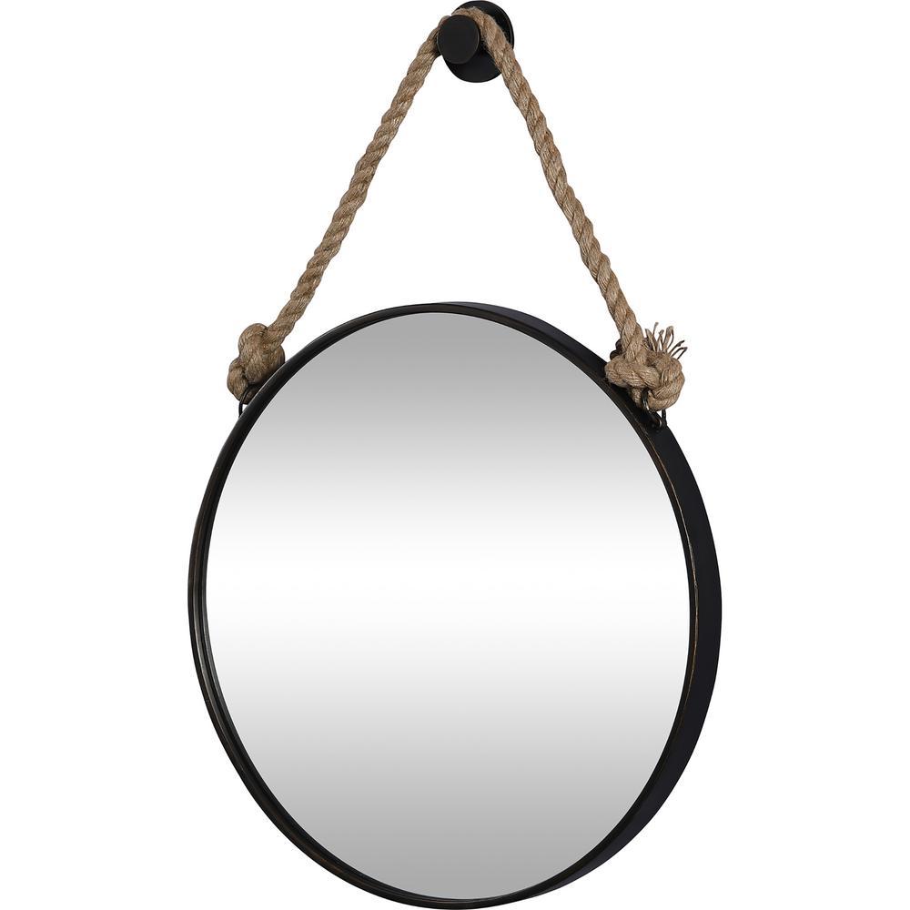 Medium Round Oil Rubbed Bronze Contemporary Mirror (33.5 in. H x 2 in. W)