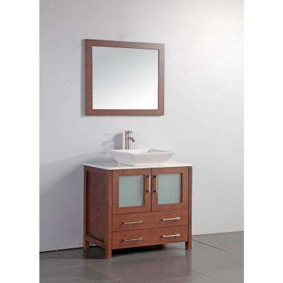 36 in. W x 18 in. D x 36 in. H Vanity in Cherry with Ceramic Top in White with White Vassal Basin and Mirror