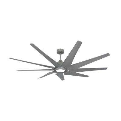 Liberator 72 in. LED Indoor/Outdoor Brushed Nickel Ceiling Fan and Light with Remote Control