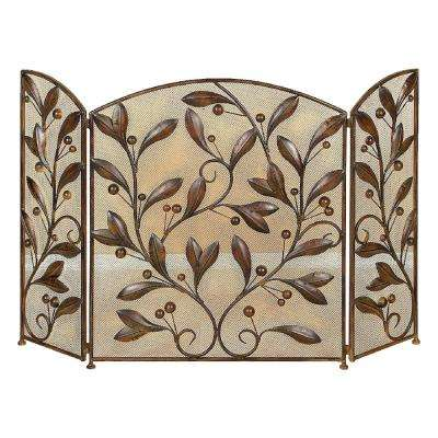 3-Panel Metal Leaves Fireplace Screen