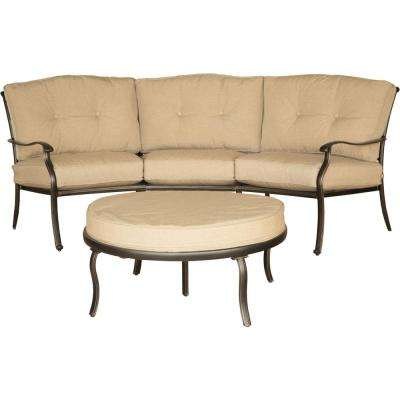 Outdoor Furniture Traditions 2-Piece Patio Seating Set with Natural Oat Cushions